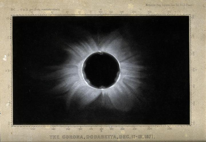 Astronomy_the_corona_of_the_sun_viewed_during_a_total_sola_wellcome_v0024739_full_width